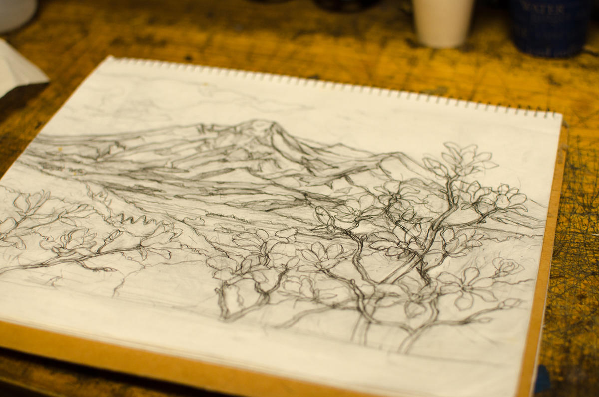 妙高山をモチーフにした作品を数多く制作